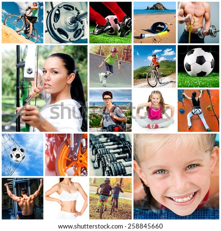 collage of athletes and sports equipment - stock photo