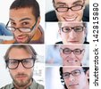 Collage of attractive men wearing reading glasses - stock photo
