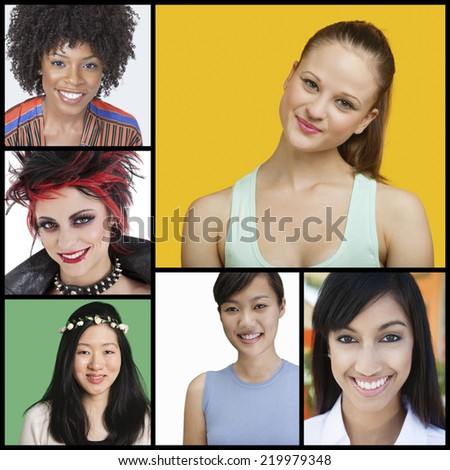 Collage of attractive women of different ethnicities - stock photo