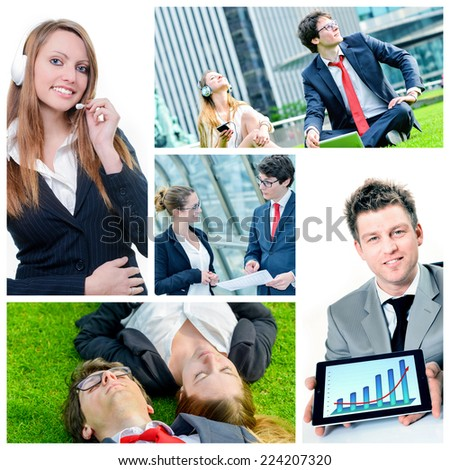 collage of attractive young business people - stock photo