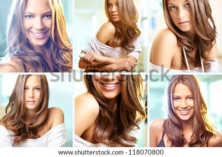 Collage of attractive young woman posing in front of camera - stock photo