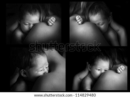 Collage of b / w photos baby and mom - stock photo