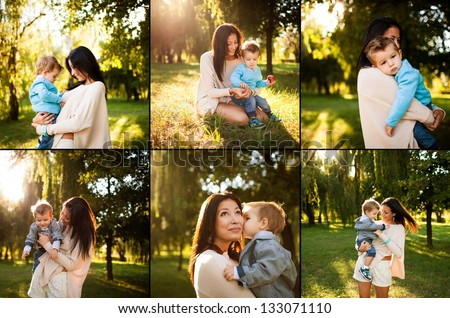 collage of baby boy with his mum playing  in the park - stock photo