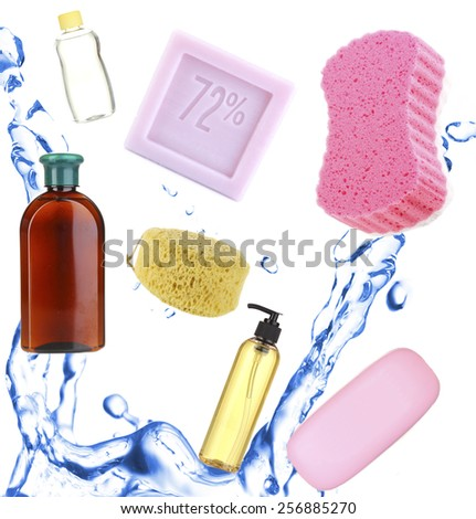 Collage of bath accessories isolated on white - stock photo