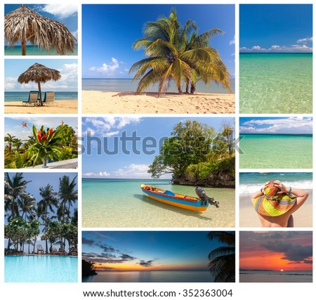Collage of beach holiday scenes in Jamaica - stock photo