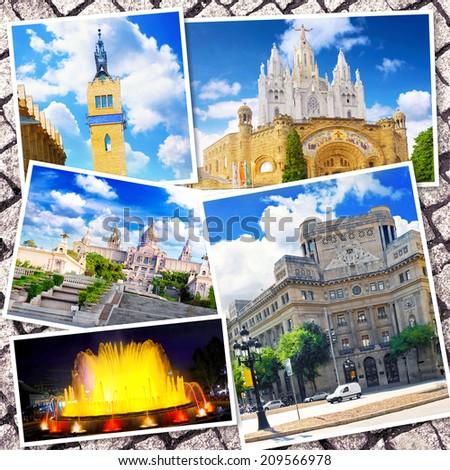 Collage of beautiful Barcelona. Catalonia. Spain  - stock photo