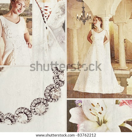 Collage of beautiful blonde bride with short hair wearing a white satin wedding gown with embroidery. - stock photo