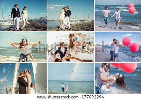 collage of  beautiful couple , love story - stock photo