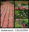 Collage of beautiful flower gardens with watering can and rustic brick pathway - stock photo
