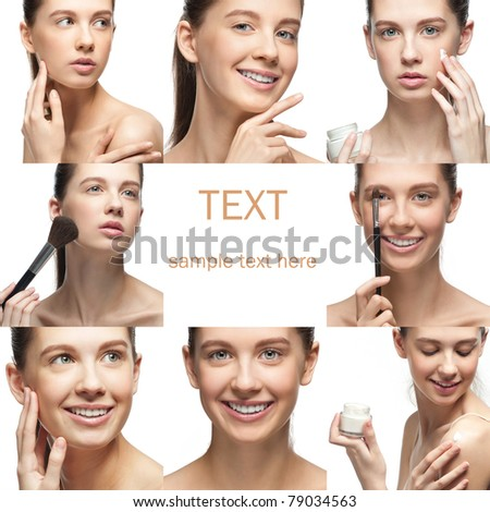 Collage of beautiful girl in different perspectives, over white background - stock photo