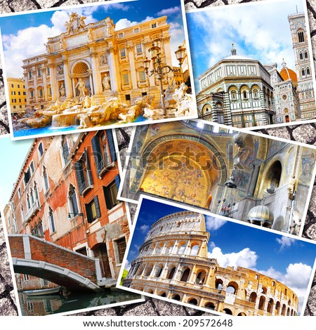 Collage of beautiful Italy. Rome,  Florence, Pisa, Venice.