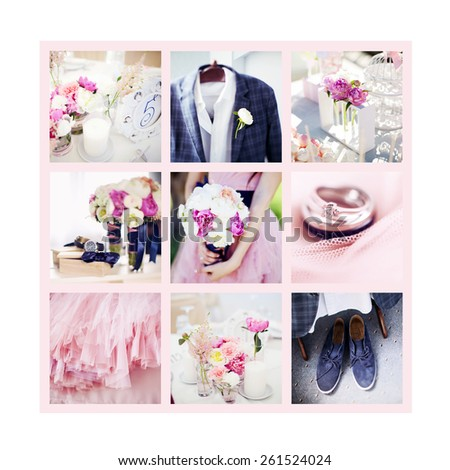 Collage of beautiful photos of wedding items. Blue and pink wedding gamma - stock photo
