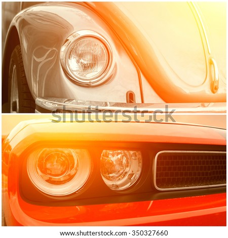 Collage of beautiful sunny part of luxury cars - stock photo