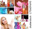 Collage of beautiful woman and luxury perfumes - stock