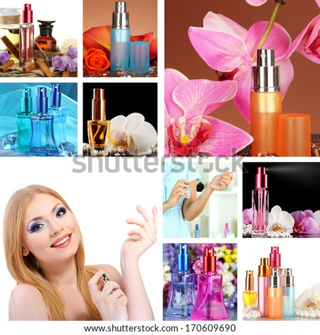 Collage of beautiful woman and luxury perfumes