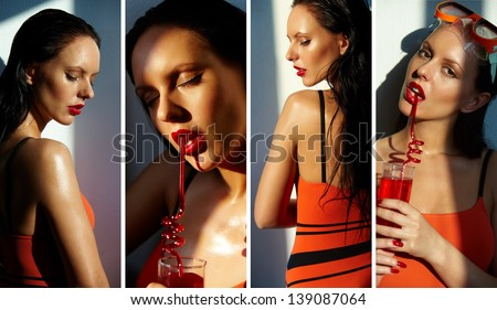 Collage of beautiful woman in swimsuit - stock photo