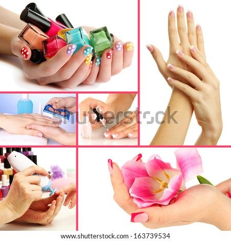 Collage of beautiful woman manicure - stock photo
