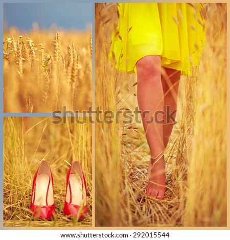collage of beautiful young woman's feet on summer wheat field - stock photo