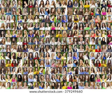 Collage of beautiful young women between eighteen and thirty years, a portrait of a close-up - stock photo