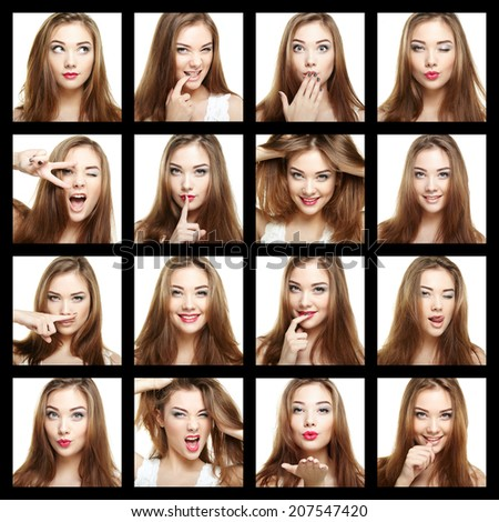 Collage of beauty face woman. Beautiful of young girl smile. Fashion photo - stock photo
