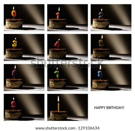 Collage of birthday candles with numbers from 0 to 9 in a tiramisu cake. Beautiful vintage-style backlight. - stock photo