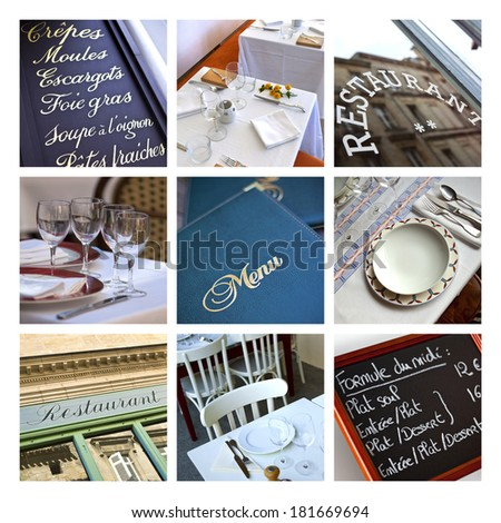 Collage of bistros and restaurants - stock photo