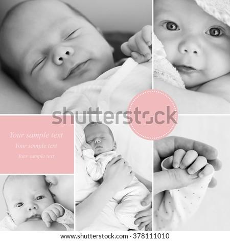 Collage of black and white newborn baby's photos - stock photo