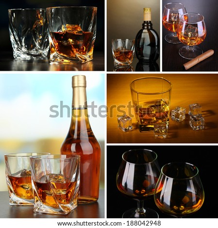 Collage of brandy glasses with ice - stock photo