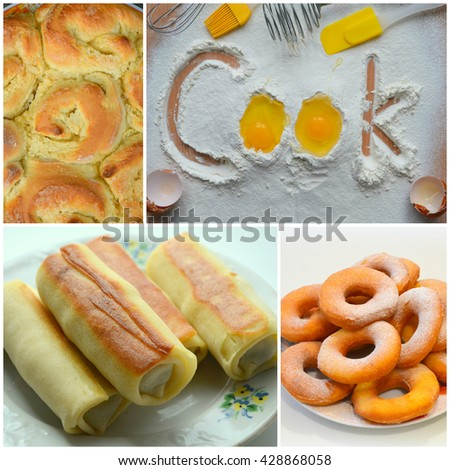 Collage of bread, homemade cakes - stock photo
