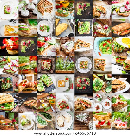 collage of bread, sandwiches, panini, toast