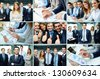 Collage of business group in formal environment - stock photo