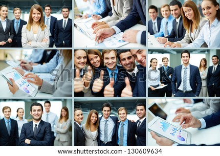 Collage of business group in formal environment