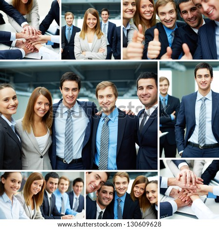 Collage of business partners in suits and symbols of unity