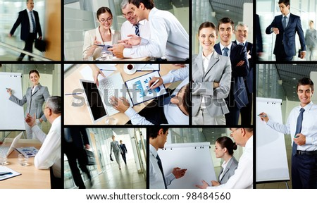 Collage of business partners working in office - stock photo