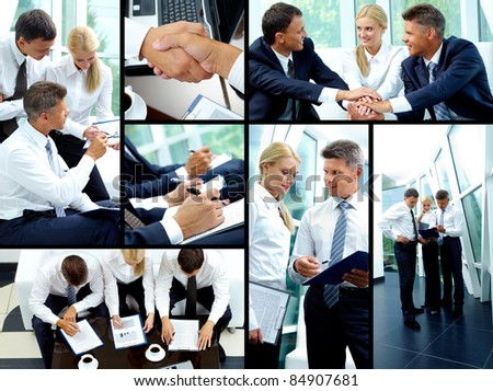 Collage of business partners working in team and making agreements