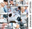 Collage of business people and business objects - stock