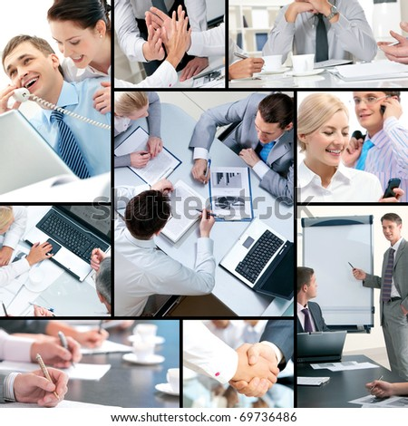 Collage of business people and business objects - stock photo
