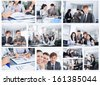 Collage of business people group working office, business team discussing, businesspeople work in team concept - stock photo