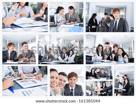 Collage of business people group working office, business team discussing, businesspeople work in team concept