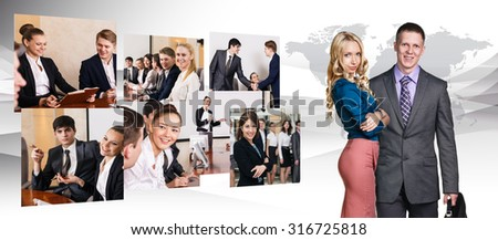 Collage of business people in conference hall. Elements of this image furnished by NASA
