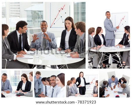 Collage of business people in different situations - stock photo