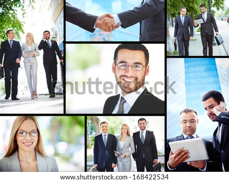 Collage of business professionals working outside - stock photo