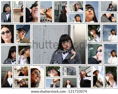 Collage of business woman portraits in a outside setting.