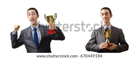 Collage of businessman receiving award
