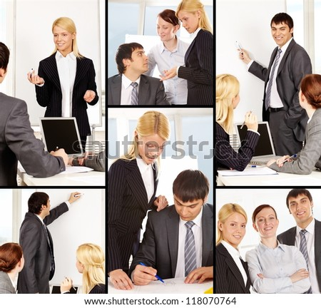 Collage of businesspeople working in office - stock photo