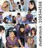 Collage of busy office employees - stock photo