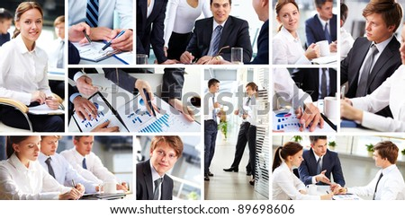 Collage of busy people discussing work and studying