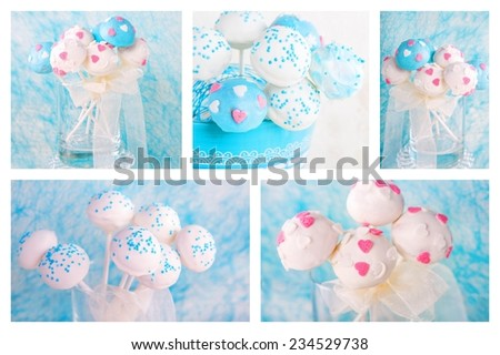 Collage of cake pops in white and soft blue. For wedding, birthday or valentine's day. - stock photo