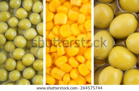 Collage of canned food as background - stock photo
