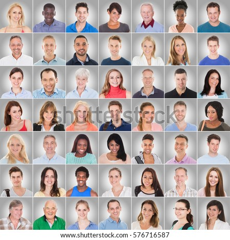 Collage Of Casual People On Gray Background With Different Multi Ethnicity